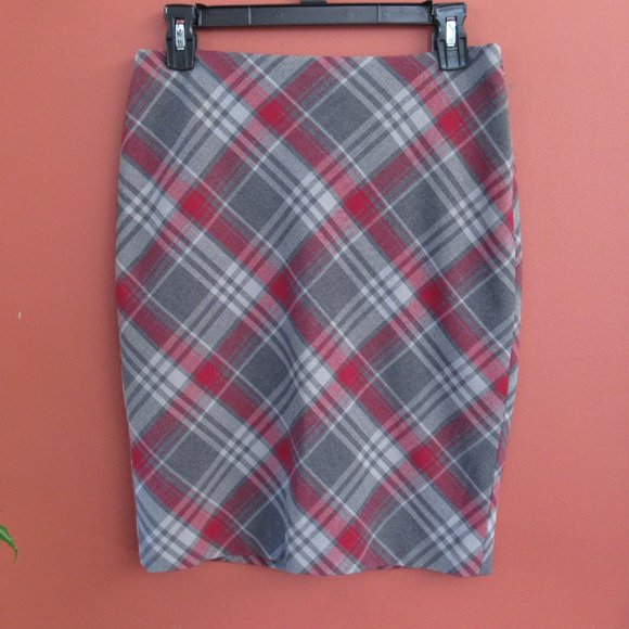 The Limited Red & Gray Plaid Pencil Skirt 0